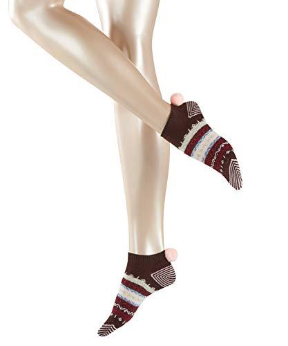 ESPRIT Norwegian Sneaker voor dames, 1 paar, maat 35-42, verf. Kleuren: grijs, rood, 80% katoen – sneakersokken in Noordse stijl met ringen en pompon op de manchetten.