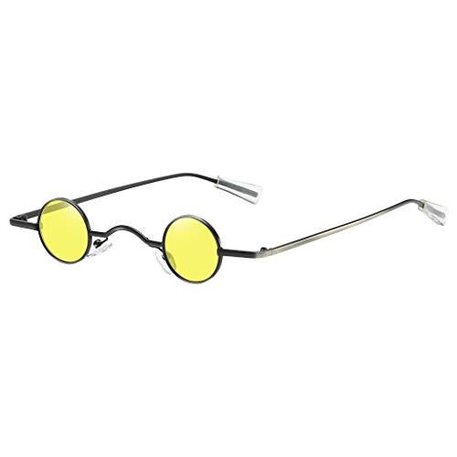 Lazzboy Sonnenbrille Runde Polarisierte Schutz Form Mann Frauen Hip Hop Brillen Shades Vintage Retro(Gelb)