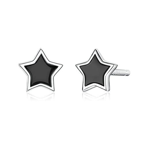 HHBB Pendientes de plata de ley 925 simples minimalistas estrella tachuelas niñas joyas de esmalte antialérgicos