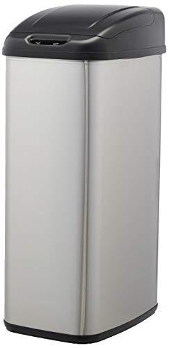 AmazonBasics Poubelle automatique en acier inoxydable - Pour espaces étroits, 50 litres