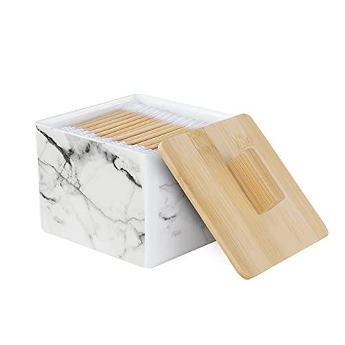 Luxspire Soporte para Algodón, Caja de Almacenamiento de Encimera de Cosméticos, Almacenaje con Tapa de Madera Adecuado para Almohadilla de Algodón, Hisopo de Algodón - Mármol Blanco