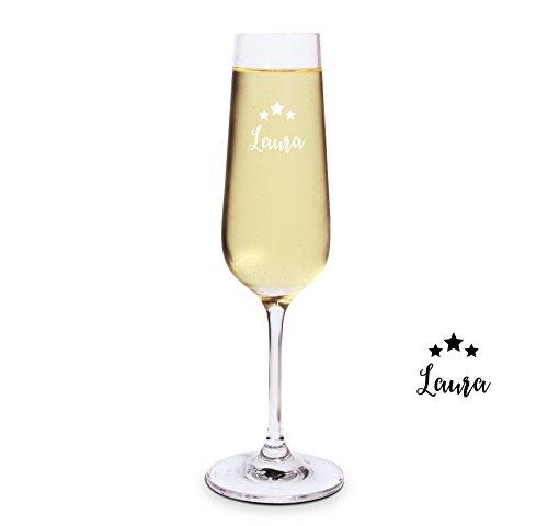 printplanet® Graviertes Sektglas - Leonardo® Sektglas mit Gravur (mit Name oder Text personalisiert) - Design Sterne