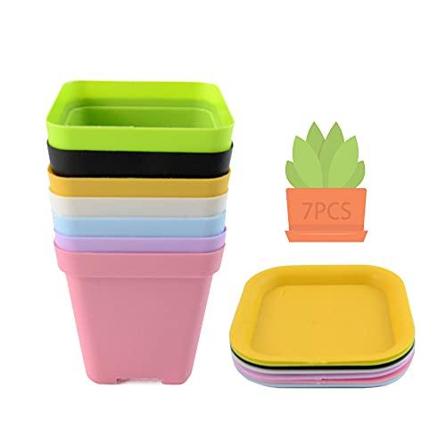 MEISHANG 7PCS Piattino Mini Vasi da Plastica,Vasi da Fiori in Plastica con Pallet,Vasi Plastica Colorati Quadrati,Quadrato Vaso da Fiori in Plastica,Vasi in Plastica per Piante Grasse (7PCS)