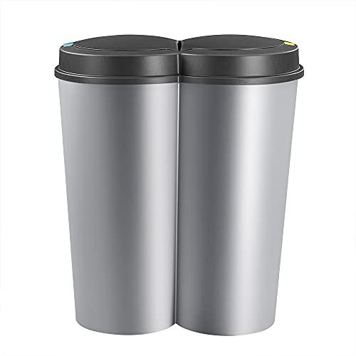 Deuba Cubo de Basura basurero de 50L Separación de residuos para cocina 2x25L reciclaje Plata 50 x 53cm