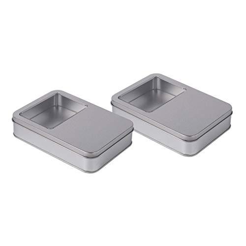 F Fityle Lot de 2 Boîtes Rectangulaires Transparentes pour Fenêtre, Boîte à épices, Boîte à épices en Aluminium, Boîte pour L'artisanat d'art, Bijoux, Montre,