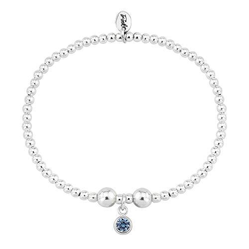 Trink Brand Sterling Silver Beaded Birthstone Bracelet for September Sapphire CZ