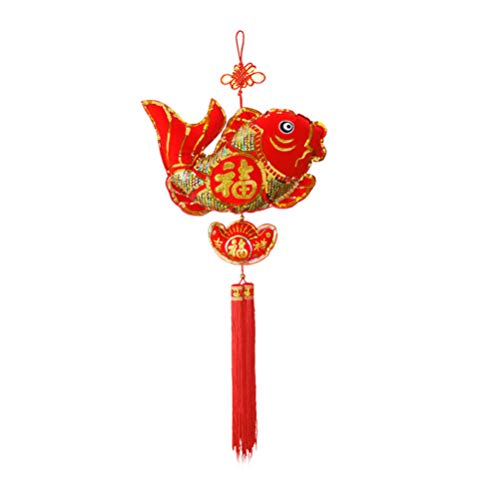 Holibanna Chinesischer Fisch Glück Quaste Laterne Chinesisches Neujahr Deko 2020 Traditionelle Rote Glückliche Orientalische Ornamente für Frühlingsfest Neues Mondjahr (Kleine Größe)
