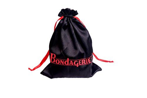 BONDAGERIE® BDSM Kit 8 Pezzi + Sacco in Raso, Manette frustino benda corda collare pinze capezzoli