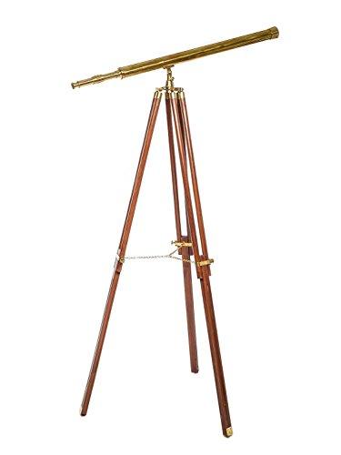 aubaho Großes Fernrohr Fernglas Teleskop Messing mit Holz Stativ 150cm antik Stil