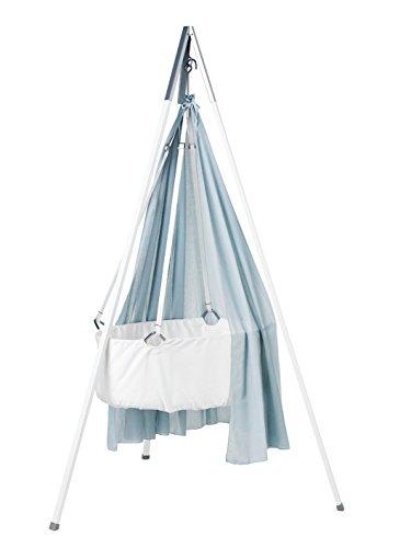 Leander Wiege - Babywiege weiß inkl. Matratze und Deckenhaken - mit Himmel (Schleier) misty blue + Stativ weiß