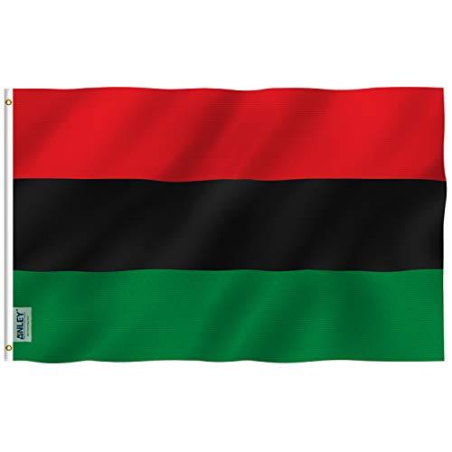 ANLEY Fly Breeze 3x5 Foot (90x150 cm) Afro Amerikaanse vlag - Levendige kleuren en UV-bestendigheid - Canvaskop en dubbel gestikt - Pan-Afrikaanse vlaggen Polyester met messing oogjes 3 X 5 Ft