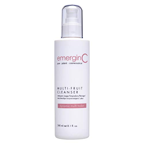 emerginC Gentle Multi-Fruit Cream Cleanser - Face Wash with Natural AHA + Vitamin C from Natural Fruit Extracts - Removes Dead Skin (8.1 oz, 240 ml)