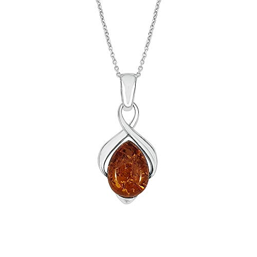Kiara Jewellery 925 Sterling Silver Brown Amber Infinity Pendant Necklace on 18' Sterling Silver Trace Or Curb Chain.