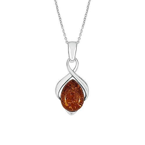 Kiara Sieraden 925 Sterling Zilver Bruin Amber Infinity Hanger Ketting op 18