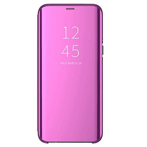 Funda para Xiaomi Redmi 6/6A Suave + Duro Carcasa Espejo Mirror Flip Caso Ultra Delgada Shock Caja del Teléfono Translucent Window View (Rosa roja, Xiaomi Redmi 6)