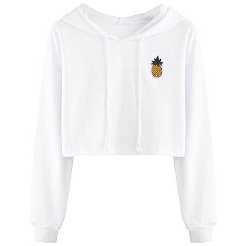 xuniu vrouwen tiener meisjes katoen schattig gewas top gedrukt hoodie trui top trui