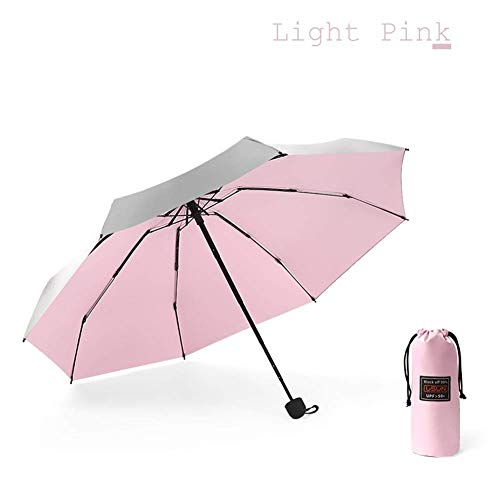 FFSM Paraguas Plegable de Bolsillo Mini señoras de Regalo Hombres protección UV y niñas pequeño de la Manera a Prueba de Agua portátil de Viaje Paraguas (Color: Rosa Claro) plm46 (Color : Light Pink)