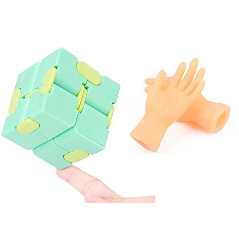 N\A Infinity Cube y divertido marioneta de dedo, autismo sensorial y ansiedad, juguete para niños y adultos, personal de oficina, tiempo muerto (macaron verde)