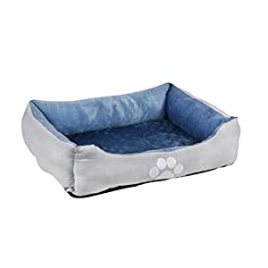 long rich Orthopedic Rectangle Bolster Pet Bed,Dog Bed, Medium 25×21 inches Blue, by Happycare Textiles, Blue with Orthopedic Insert. (HCT-ORT-Blue)