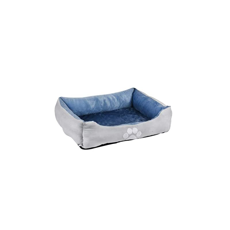dog supplies online long rich orthopedic rectangle bolster pet bed,dog bed, medium 25x21 inches blue, by happycare textiles, blue with orthopedic insert. (hct-ort-blue)