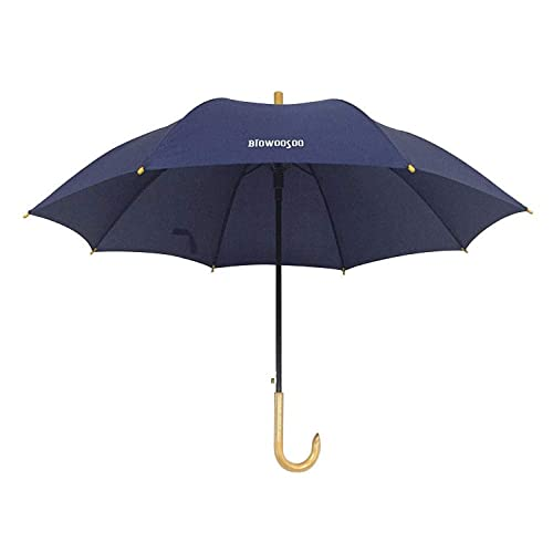 XYZK Ornament, selbstöffnender langer gerader Regenschirm aus Holz mit gebogenem Griff