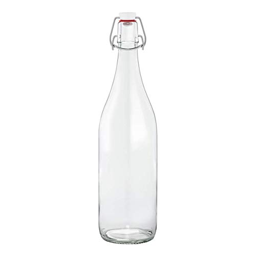 Le Parfait Milk Bottles - 500ml French Glass Preserving Bottles w/ 48mm Printed Logo Metal Twist Cap, 16oz/Pint (Pack of 6)