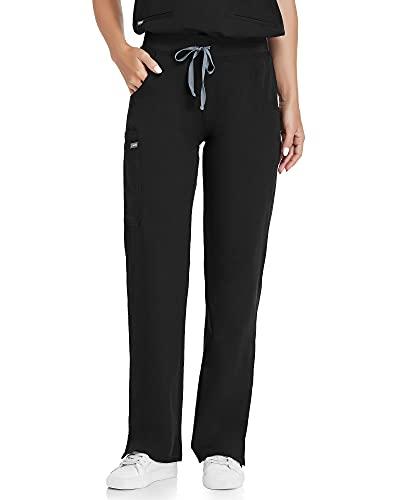COMENII Scrub Pants for Women, Mid Rise Straight Leg Cargo Scrubs Pants with Flat Stretch Knit Yoga Waistband, Anti-Wrinkle Medical Scrub for Women(Black S)