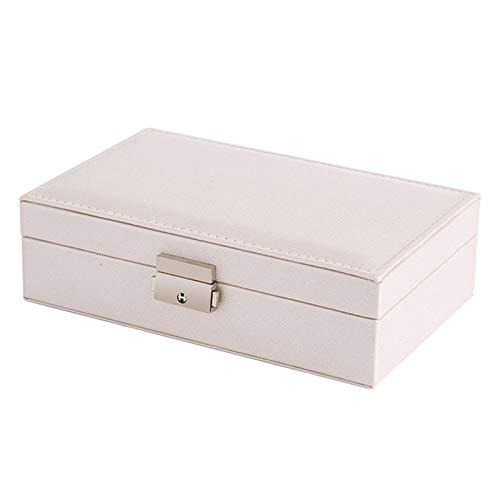 Joyero de piel sintética para relojes y joyas, organizador de alta gama, caja de almacenamiento para relojes, joyerías, adornos de maquillaje, organizador de joyas (color: blanco)