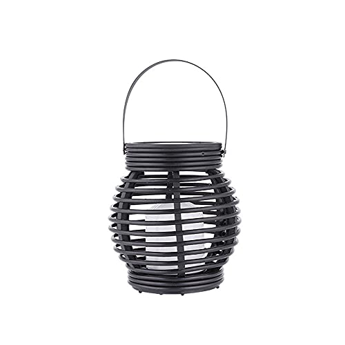 KAIKEA 6Inches Decorative Candle Lantern Black Rattan Antique Rustic Outdoor Hanging Lanterns LED Great For Home Improvement Gift Light Tree Fence Patio Lumens, Outdoor Decorative