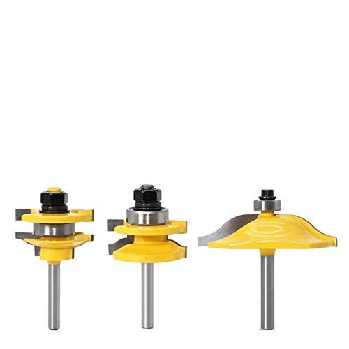 Fresa 1-3pcs 6mm Shank Rail & Stile Router Bits-Coincidencia Cuchillo de puerta estándar Cortador de carpintería Cortador de tenón para herramientas de carpintería