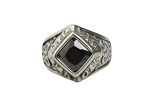 AnazoZ roestvrij stalen ringen mannen vintage ontwerp gravable verloving trouwband met vierkante zirkonia