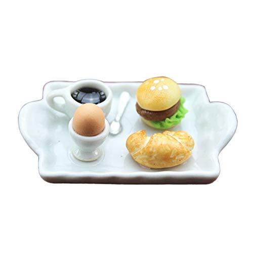 HShyxlkj Mini Huevo Hamburguesa Pan café Placa casa de muñecas Miniatura Modelo Juguete decoración