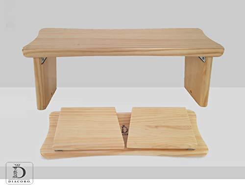 Banco de meditacion plegable - nuevo modelo mejorado de año 2020, taburete de meditacion en acabado de pino macizo natural, con formato de cierre facil y bisagra reforzada