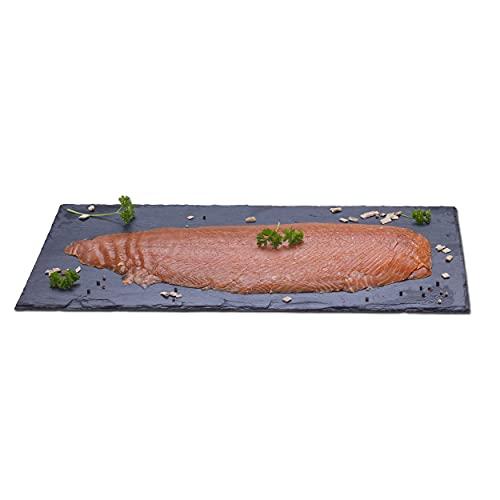 Räucherlachs, von Hand gesalzen, über echtem Buchenrauch geräuchert, tiefen-enthäutet und geschnitten, 1000 Gramm