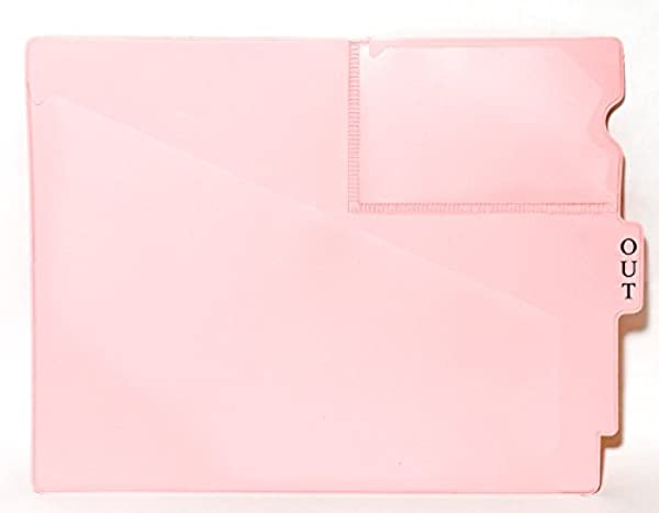 Center TAB Vinyl OUTGUIDES Pack Of 25 Letter Size 9 1 2 X 12 7 8 Overall Two Pockets Pink