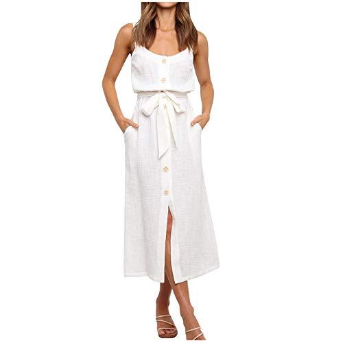 Janly Clearance Sale Vestido de mujer, con botones, para mujer, sin mangas, casual, sexy, suelto, para vacaciones, verano, color beige y XL