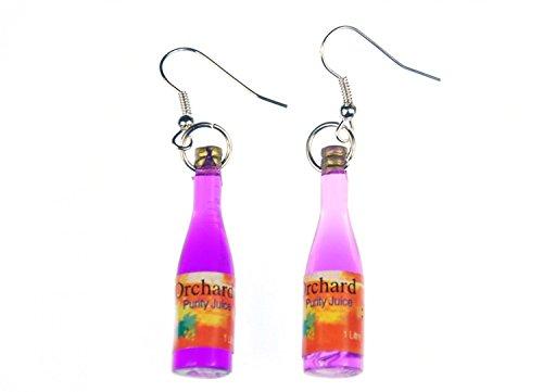 Miniblings Flasche Ohrringe Saftflasche ORCHARD Purity Juice Saft lila - Handmade Modeschmuck I Ohrhänger Ohrschmuck versilbert
