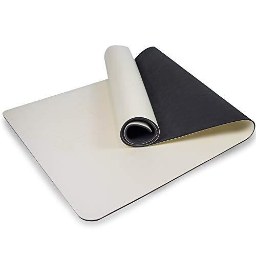 Myga RY1184 - Tappetino da Yoga Extra Large con Linee di Allineamento, Impugnatura Superiore Antiscivolo, con Imbottitura ad Alta Densità, Crema