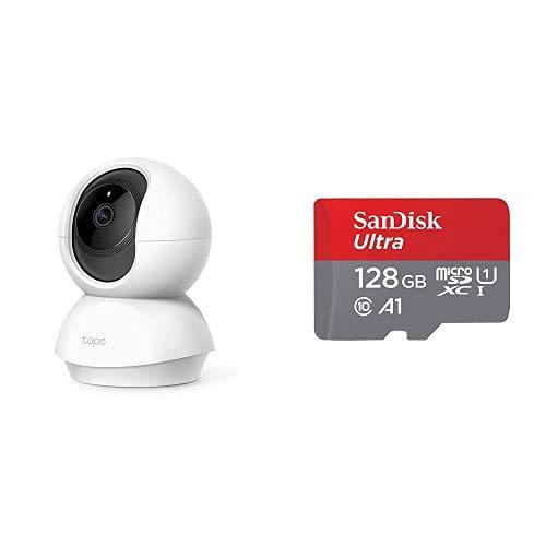 TP-Link - Cámara de Vigilancia FHD 1080p, Visión Nocturna + SanDisk Ultra Tarjeta de Memoria microSDXC con Adaptador SD, hasta 100 MB/s, Rendimiento de apps A1, Clase 10, U1, 128 GB