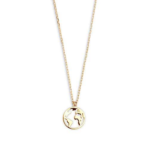 XENOX XS3160G Damen Collier Welt Erde Sterling-Silber 925 Gold 45 cm