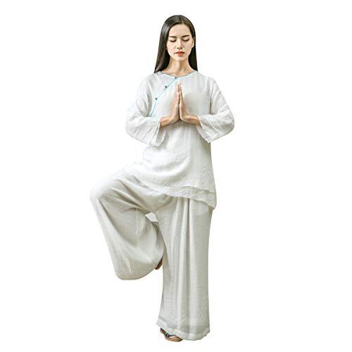 KSUA Womens Tai Chi Clothes Zen Meditation Uniform Silk Cotton Kung Fu Clothing, White US L/Tag XL