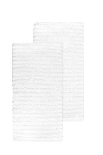 Ritz Royale Collection 100% Combed Terry Cotton, Highly Absorbent, Oversized, Kitchen Towel Set, 28' x 18', 2-Pack, Solid White
