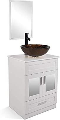 """24"""" Bathroom Vanity and Sink Combo - Vanity Cabinet with and Tempered Glass Vessel Counter Top Sink Basin Eco PVC Board Faucet Pop-up Drain Set"""