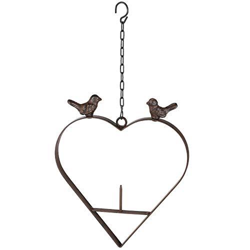 #11 Metall Meisenknödelhalter 23x25 cm in Herzform mit hübscher Verzierung • Vogelfutterstation Vogel Garten Deko Futterhaus Vogelfutter Apfelhalter
