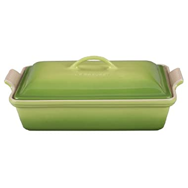 Le Creuset Heritage Stoneware 12-by-9-Inch Covered Rectangular Dish, Palm