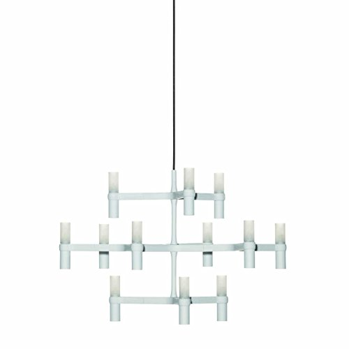 Crown Minor lampadario, Alluminio, vetro, weiß/lackiert/BxHxT 77x50x67cm/12 Lampen, 12 Lampen Ø87cm, G9