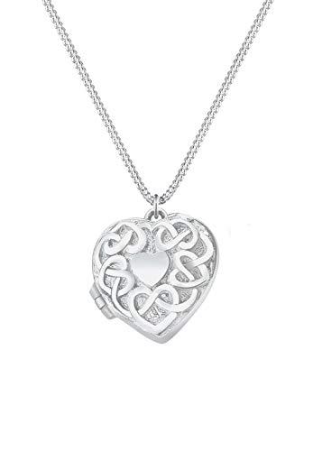 Elli Halskette Damen Herz Medaillon Anhänger Ornament Verspielt in 925 Sterling Silber