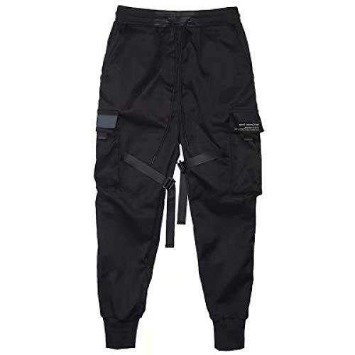 Pantalones Cargo de Hip Hop Negros para Hombre, Pantalones de chándal con cordón de Cintura elástica, Pantalones Deportivos con Bolsillos, Ropa de Calle Informal S