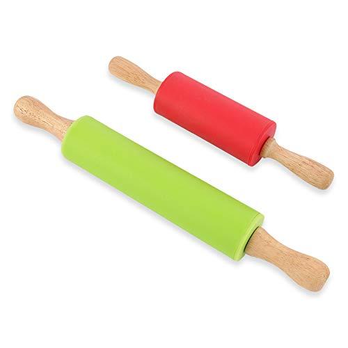 Veraing 2 Stück Silikon-Nudelholz mit Holzgriffe zum Backen Antihaft-Oberfläche BPA frei Ergonomische Griffe für Backen, Pie Crust, Cookies, Fondant, Pizza(Grün/Orange)