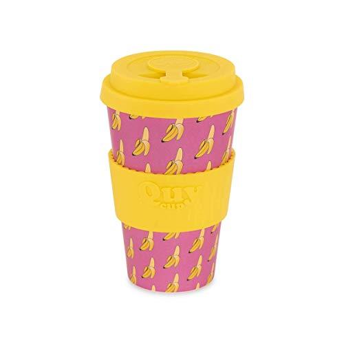 QUY CUP. Banana. Kaffeebecher to Go, Travel Mug, Bamboo Cup als Mehrweg Tasse für unterwegs, Coffee to go Becher, nachhaltiger Becher mit Deckel und Silikonmanschette, 400ml.